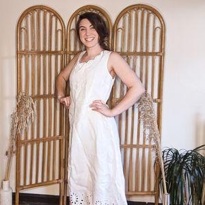 Talbots Scalloped Hem Eyelet White Dress